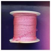 2 м. Розовый с серебром. Тесьма жгут 0.3 см