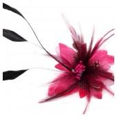 СС-3. Фуксия цвет. Заколки из перьев птиц для волос и броши