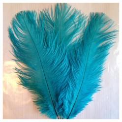 1 шт. Морская волна цвет. Перо страуса 15-20 см