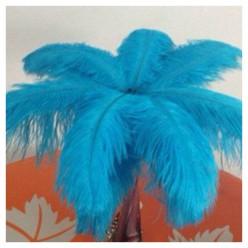 1 шт. Голубой цвет. Перо страуса 35-40 см