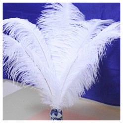 1 шт. Белый цвет. Перо страуса 40-45 см