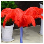 1 шт. Красный цвет.  Перья страуса 45-50 см