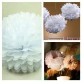1 шт. Белый цвет. Бумажные цветы. Пионы. Объем цветка 10 см.