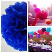 1 шт. Синий цвет. Бумажные цветы. Пионы. Объем 10 см.