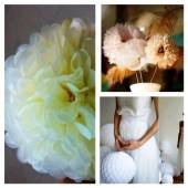1 шт. Молочный цвет.  Бумажные цветы. Пионы. Объем 10 см.