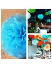 1 шт. Голубой цвет. Бумажные цветы. Пионы. Объем цветка 15 см