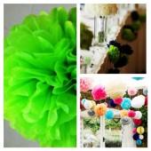 1 шт. Салатовый цвет. Бумажные цветы. Пионы. Объем цветка 15 см
