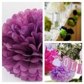 1 шт. Фиолетовый цвет. Бумажные цветы. Пионы. Объем цветка 15 см