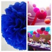 1 шт. Синий цвет. Бумажные цветы. Пионы. Объем цветка 15 см