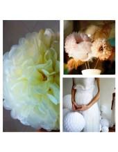 1 шт. Молочный цвет. Бумажные цветы. Пионы. Объем цветка 15 см