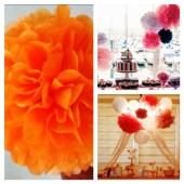 1 шт. Оранжевый цвет. Бумажные цветы. Пионы. Объем цветка 15 см