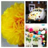 1 шт. Ярко-желтый цвет. Бумажные цветы. Пионы. Объем цветка 15 см