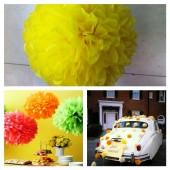 1 шт. Желтый цвет. Бумажные цветы. Пионы. Объем цветка 20 см
