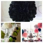 1 шт. Черный цвет. Бумажные цветы. Пионы. Объем цветка 20 см