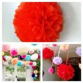 1 шт. Красный цвет. Бумажные цветы. Пионы. Объем цветка 20 см
