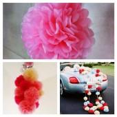 1 шт. Ярко-розовый цвет. Бумажные цветы. Пионы. Объем цветка 20 см