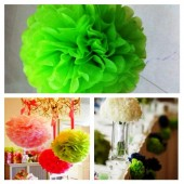 1 шт. Зеленый цвет.  Бумажные цветы. Пионы. Объем цветка 20 см