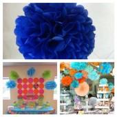 1 шт. Синий цвет. Бумажные цветы. Пионы. Объем цветка 25 см