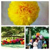 1 шт. Ярко-желтый цвет. Бумажные цветы. Пионы. Объем цветка 25 см