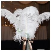 1 шт. Белый цвет.  Перья птиц страуса 55-60 см.  Экстра класс