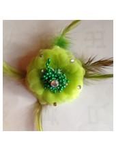 ЕЕ-5. Зеленый цвет. Заколки с перьями птиц и броши