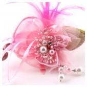 КК-5. Розовый цвет. Заколки с перьями птиц и броши