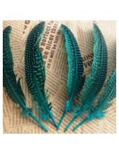 10 шт. Голубой с черным. Перья фазана 15-20 см. В крапинку