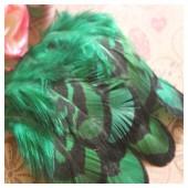 20 шт. Зеленый цвет. Перья фазана 6-9 см.