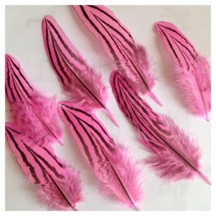 10 шт. Розовый цвет. Перо фазана 7-10 см. Коктейль