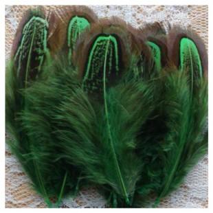 20 шт. Зеленый цвет. Фазан цветное перо 4-7 см