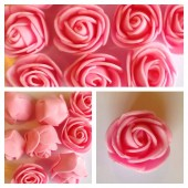 1919. Розовый цвет. Цветные головки роз 3 см