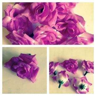 357.1 шт. Сиреневый с белый цвет. Розы головки 4 см.