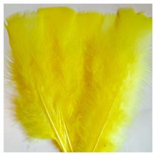 20 шт. Желтый цвет. Перо Индейки 9-15  см