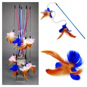 663. 1 шт. Синий цвет. Игрушки для кошек из перьев птиц