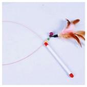 671. 1 шт. Розовый цвет. Игрушки для кошек из перьев птиц