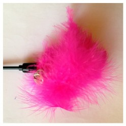 685. 1 шт. Фуксия цвет. Игрушка из перьев птиц с колокольчиком