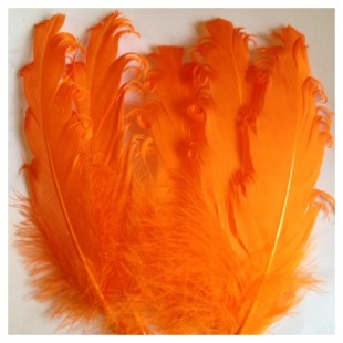 20 шт. Оранжевый цвет. Гусиное перо 12-16 см. Кудри