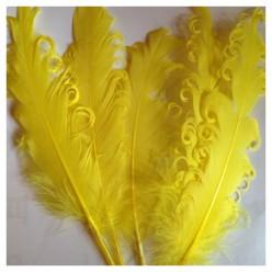 20 шт. Желтый цвет. Гусиное перо 12-16 см. Кудри