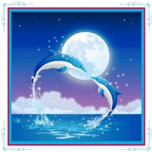 """5D Картина из страз. """"Дельфины"""""""