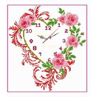 """5D Картина из страз. """"Часы с розами"""""""