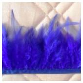 1 м. Синий  цвет. Тесьма. Перья петуха на ленте 6-11 см