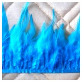 1 м. Голубой  цвет. Тесьма. Перья петуха на ленте 6-11 см