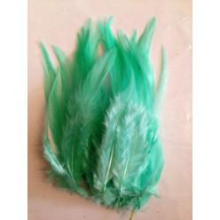 20 шт. Бледно-голубой цвет. Перья петуха. Цветное 10-15 см.
