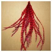 10 шт. Красный цвет. Перо американского петуха 10-15 см. 2-х цветное