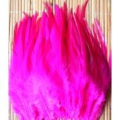 20 шт. Фуксия цвет. Перья петуха. Цветное 10-15 см