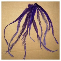 10 шт. Фиолетовый цвет. Перо американского петуха 10-15 см. Цветное