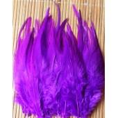 20 шт. Фиолетовый цвет. Перья петуха. Цветное 10-15 см