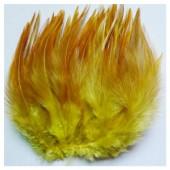 20 шт. Желтый цвет. Перо петуха 11-15 см. 2-х цветное