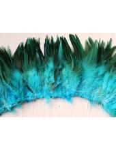 20 шт. Голубой цвет. Перо петуха  11-15 см.  2-х цветное