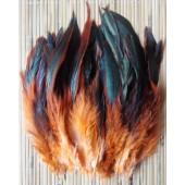 20 шт. Оранжевый цвет. Перо петуха 2-х цветное 12-18 см